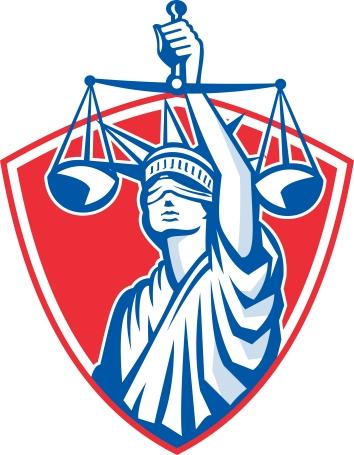 Statue of Liberty Raising Justice Scales Retro